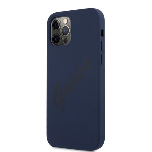 GUHCP12LLSVSBL Guess Silicone Vintage Zadní Kryt pro iPhone 12 Pro Max 6.7 Blue