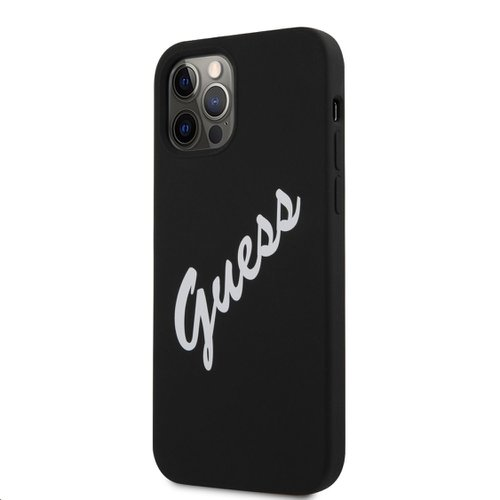 GUHCP12LLSVSBW Guess Silicone Vintage White Script Zadní Kryt pro iPhone 12 Pro Max 6.7 Black