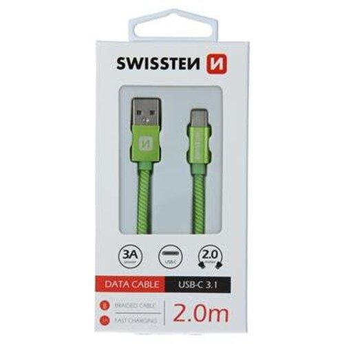 Dátový kábel Swissten USB-C Quick Charge 3A 2m Zelený opletený