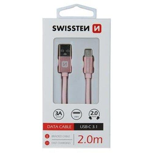 Dátový kábel Swissten USB-C Quick Charge 3A 2m Ružový opletený