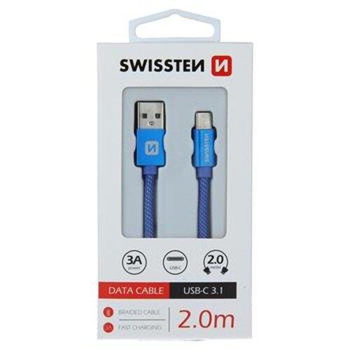 Dátový kábel Swissten USB-C Quick Charge 3A 2m Modrý opletený