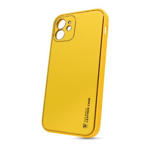 Puzdro Leather TPU iPhone 12 (6.1) - žlté