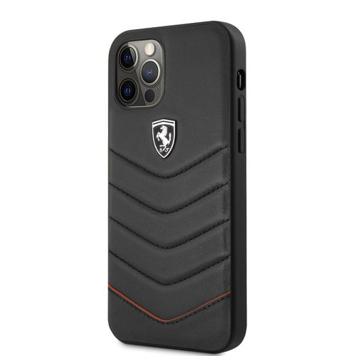 FEHQUHCP12LBK Ferrari Off Track Leather Quilted Zadní Kryt pro iPhone 12 Pro Max 6.7 Black