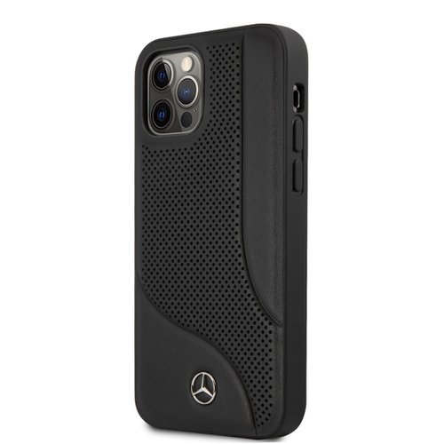 MEHCP12MCDOBK Mercedes Perforated Leather Zadní Kryt pro iPhone 12/12 Pro 6.1 Black