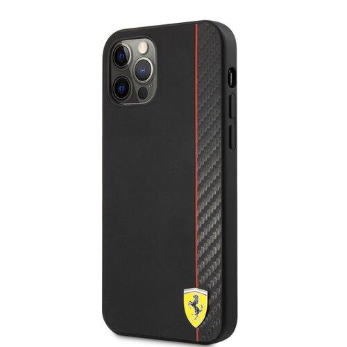 FESAXHCP12LBK Ferrari On Track Stripe Carbon Zadní Kryt pro iPhone 12 Pro Max 6.7 Black