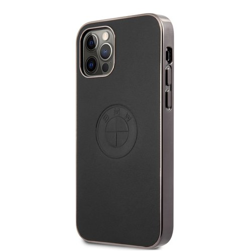 BMHCP12LREELK BMW Signature Leather Embossed Logo Zadní Kryt pro iPhone 12 Pro Max 6.7 Black